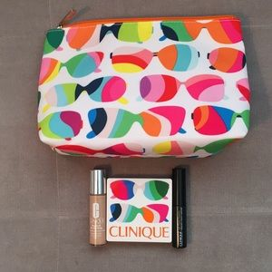 Clinique makeup bag and makeup